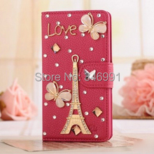 Case for Huawei Ascend P6 jade butterfly girl ballet crown the Eiffel Tower red litchi grain phone protection Rhinestone holster