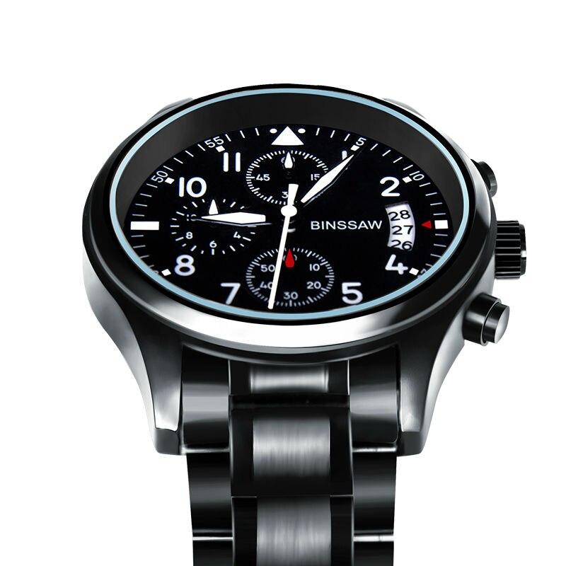 BINSSAW Brand New Men Luxury Quartz Watch Stainless Steel Fashion Leather Waterproof Luminous Sports Watches Relogio Masculino<br>