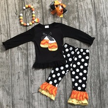 baby girls kids wearfall boutique girl clothing children Halloween candy corn outfits children polka dot pant with accessories(China)