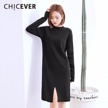 Buy CHICEVER 2018 Spring Knitting Pullovers Black Dress Female Hem Split Long Sleeve Loose Big Size O Neck Dresses Clothes Fashion for $26.01 in AliExpress store