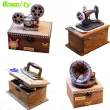 11 x 11cm Creative Small Ornament  Sewing Machine Wooden Box Antique Imitation Musical instruments box For Coin And Jewel Box