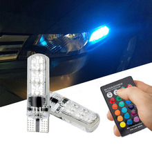 1pair T10 5050 6smd RGB LED car wedge light turn signal indoor dome read light bulb Atmosphere lights with remote control(China)