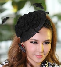 Women Black Fascinator Hats Feather Flower Girl Hair Accessories Wedding Headpiece Hair Bows with Hairband