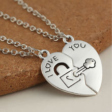Vintage Silver New Fashion 2Pcs Broken Heart  Key Lock Love You Pendant Necklace for Women Girl Friend Jewelry Gift