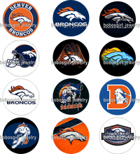 NCAA DENVER BRONCOS glass Snap button Charm Popper for Snap Jewelry good quality picture pendant Gl405 BOBOSGIRL(China)
