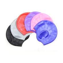 Professional Multicolor Waterproof Women Silicone Ear Protection Swimming Caps For Long Hair Head To Swim Cap Ear Protect
