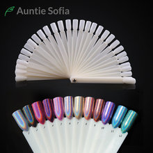 Round Hoop False Nail Fan Board Display 50Pcs Spiral Stick Practice Board Nail Gel Polish Color Collection Showing Tool