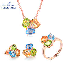 LAMOON 3pcs 3ct Oval Yellow Citrine Green Peridot Blue Topaz 925 sterling-silver-jewelry  Jewelry Set V003-2