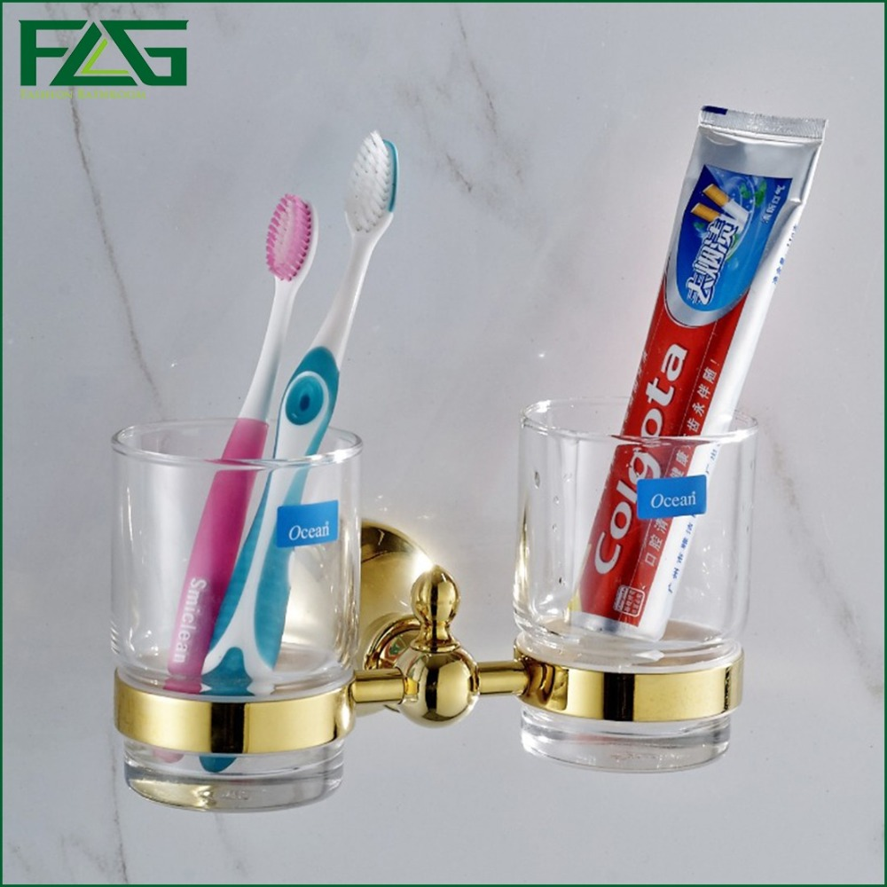 FLG Bathroom Accessories  Wall Mount Gold Polished Elegant Bathroom Double Toothbrush Cup Holder Tumbler Holder Glass Cup G1281<br><br>Aliexpress