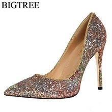 BIGTREE Bling Sequines Womens Pumps Heels Party Wedding Shoes Sexy Pointed Toe High Thin Heel Stiletto Ladies Bridal Shoes