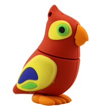 lovely Parrot pen drive usb flash drive 64g 32g 16g cute cartoon bird real capacity flash memory stick pendrive USB2.0(China)