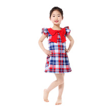 Plaid Baby Girls Dress Collar 4th of July Baby Girls Clothes  Ruffle Sleeve Toddler Dress Patriotic Girls Boutique Clothing