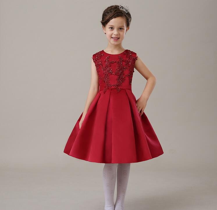 Deluxe Summer Red Sequined Tulle Girl Dress Baby Girl Birthday Party Dress Beaded Organza Wedding Ball Gown Flower Girl Clothes<br>