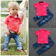 2017 Promotion Rushed Fashion Solid Boys Short 2pcs Toddler Kids Baby Boy Clothes Polo Shirt Tops+denim Jeans Pants Outfits Set