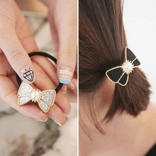 Elastic Hair Band with Metal Bow,Bowknot with Flashlight Powder and Pearl Decorated,Women Hair Accessories for Ponytail(China)