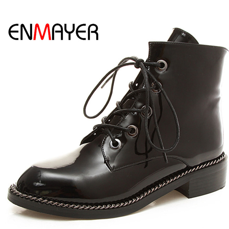 ENMAYER New Fashion Ankle Boots Round Toe Black Silver Rivets Shoes for Women Cross-tied Boots Autumn Low Heel Soft Woman Shoes<br>