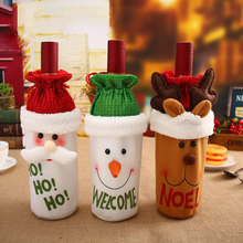 Smiry 1 Pc Santa Claus Red Wine Bottle Cover Bags Cute Flannelette Christmas Gift Holders Dinner Table Decoration Clothes