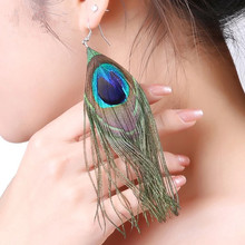 H:HYDE Fashion Hot Selling New Style Assorted Color Peacock Natural Feather Earrings Wholesale Drop Earrings(China)