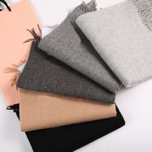 1 PC Autumn Winter Fashion Popular Women Scarves Lady Shawl Cashmere Blend Solid Tassel Shawl Knitted Scarves(China)