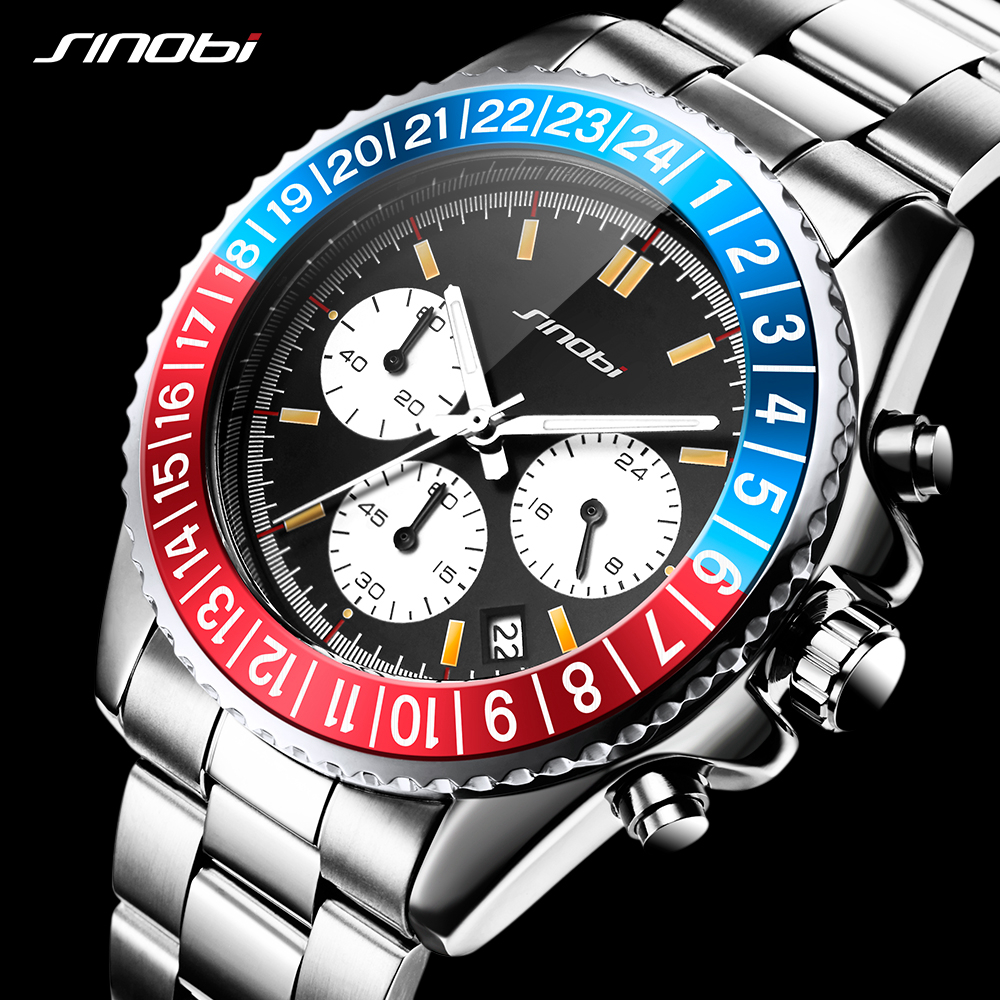 SINOBI Relogio Masculino Mens Watch Rotatable Bezel Full Steel Fashion Business Watch 2018 Chronograph Quartz Watch with box<br>