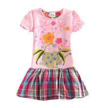 Baby girl dresses brand new cartoon summer cotton child dress girl's wear nova kid clothes children flower dress H5236