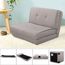 Giantex Fold Down Sofa Bed Living Room Flip Out Lounger Convertible Sleeper Bed Couch Game Modern Sofa Chairs HW52681LTGR(China)