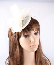 16 Colors elegant fascinator hats sinamay base loops with ostrich quill adorned apparel accessories cocktail hats race headpiece