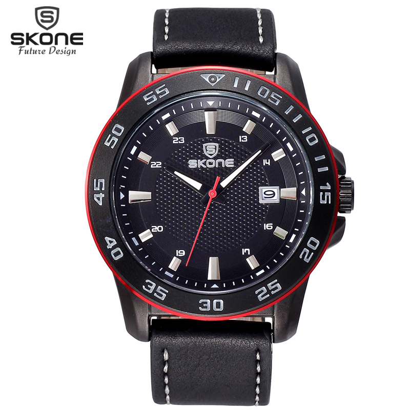 Genuine Leather Watches Men Luxury Brand SKONE Calend @