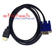 By dhl or ems 200 pieces 1.8m,3m HDMI Female to VGA male Video Converter Adapter Cable for PC DVD HDTV TV 2M or 3M Hot Sale(China)