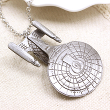 Hot Movie Star Trek Enterprise Model Spacecraft Necklace Metal Alloy Pendant Necklace For Souvenirs(China)
