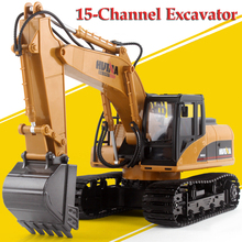 RC Metal Excavator 15 Channel 2.4G RC Car Charging Remote Control Toys Cars remote control excavator toys for childre(China)