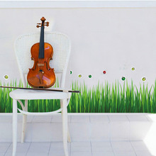 Baseboard Green Grass Ladybug DIY Removable Art Skirting Vinyl Wall Stickers Decor Living Room Bedroom Flower Home Decal