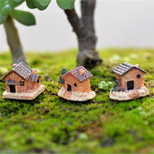 3Pcs New Natural Resin Micro Landscape Ornaments Mini House Model Creative Design Miniature Garden Decoration Accessories