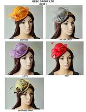 Wholesale Attractive multiple color NEW Sinamay mini hat fascinator.lilac,leopard print,orange,red,silver colour.FREE SHIPPING
