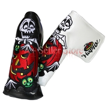1pc OEM Pumpkin Happy Hallowmas Golf Club Putter Headcovers Embroidery with magnet   Black/White