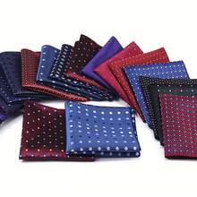 KR1273-1292 Luxury Men's Polyester Silk Handkerchief Pocket Square Vintage Polka Dot Hankies Wedding Party Chest Towel 22*22CM