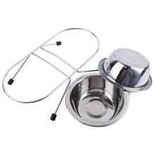 New Qualified Stainless Steel Pet Dog Cat Puppy Travel Feeding Feeder Food Bowl Water Dish Levert Dropship dig6824(China)