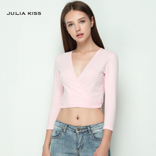 Fashion sexy low-cut deep V-neck bandage lacing slim waist 7 short design bare midriff top fashion t-shirt(China)