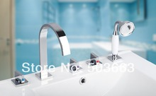 Lastest Modern P Waterfall Design 5 Pieces 2 Lever Bathroom Bathtub Basin Sink Brass Faucet Vanity Mixer Tap Chrome MF-576(China)