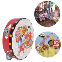 Baby Wooden Musical Toys Chinese Traditional Drum Rattles Toy Kids Educational Toys Gifts Hand Held Tambourine Drum Bell(China)