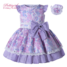 Pettigirl Summer Purple Floral Girl Dresses With Bow Fly Sleeve Kids Dresses Boutique Cotton Holiday Dresses Headband Kids Wear