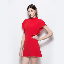 External mold make 5389 # speed sell tong Pure color half a turtle neck chiffon raglan sleeve waist sexy dress(China)