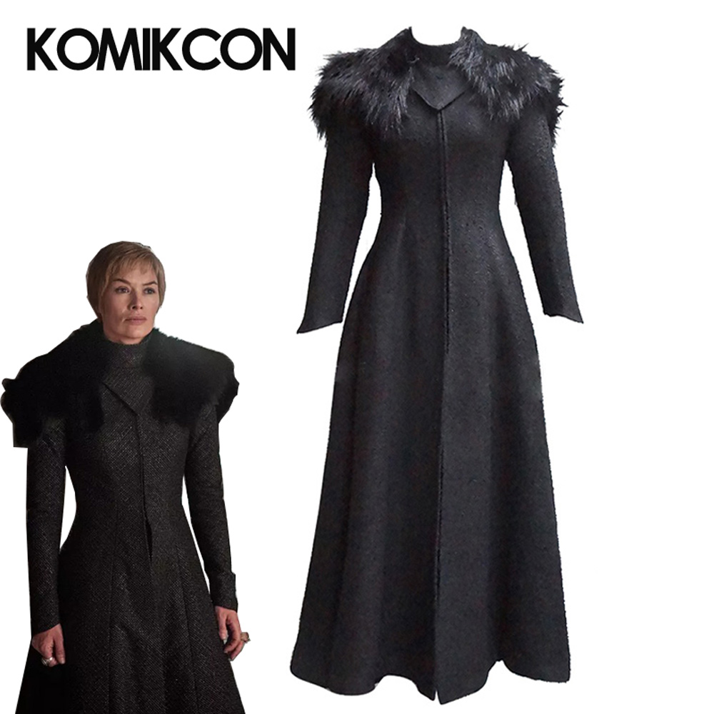 Game of Thrones Season 7 Cersei Lannister Queen Cosplay Costume Adult Unisex Autumn Winter Warm Coat Halloween Party Cloak Cape