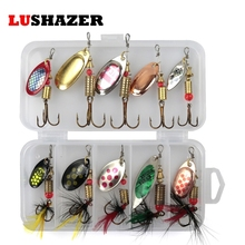 Buy 10pcs/lot LUSHAZER fishing spoon baits spinner lure 3g-7g fishing wobbler metal lures spinnerbait isca artificial free box for $5.99 in AliExpress store