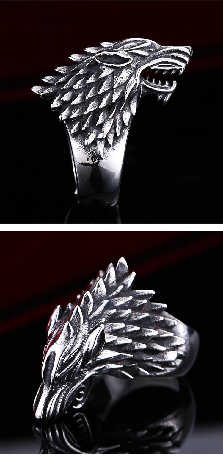 แหวนผู้ชายเท่ห์ๆ Code 042 แหวนหมาป่า สแตนเลส แกะลายคมๆสวยๆ9