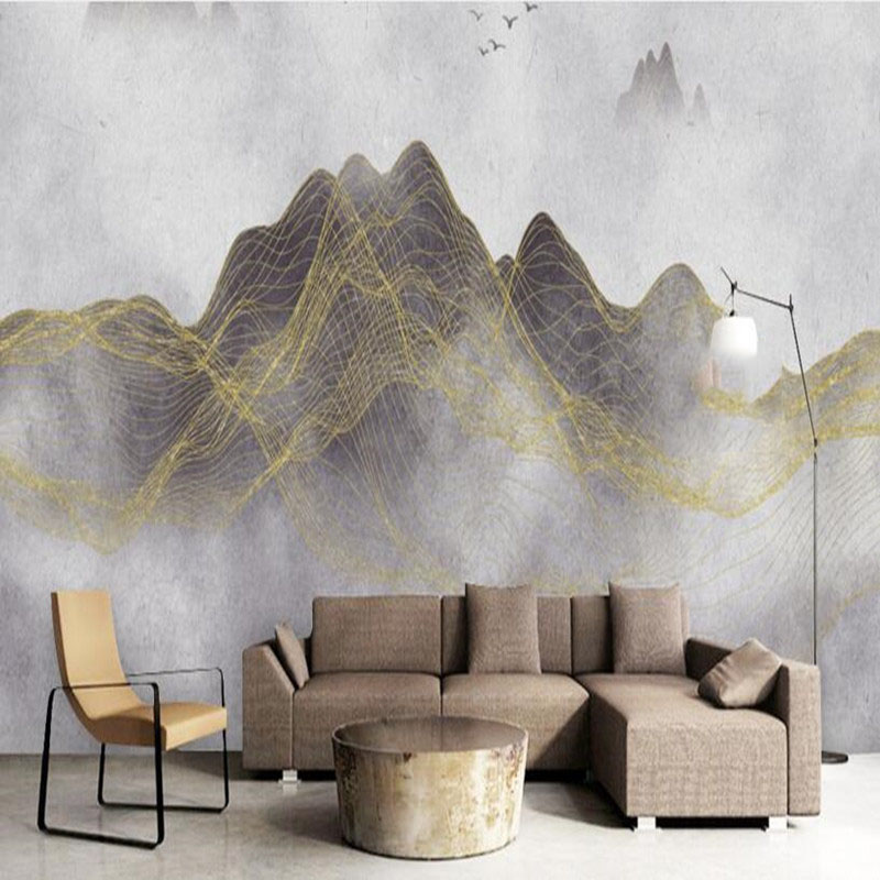 Wall Mural Wallpaper in Wallpapers Chinese Style 3D Wall Murals Abstract Landscape Line 3D Wallpaper Bedroom TV Sofa Wall Murals<br>