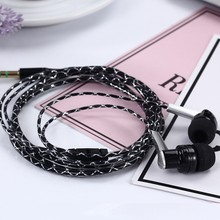3.5mm New In-Ear Stereo Earbuds Braided Rope Line Wired Earplugs Earphone Headset Mic For Cell Phone MP3 Computer