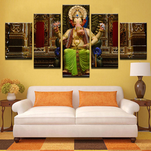 Modern HD Printed Canvas Poster Living Room Home Decor 5 Pieces India Elephant Head God Ganesha Painting Frame Modular Pictures(China)