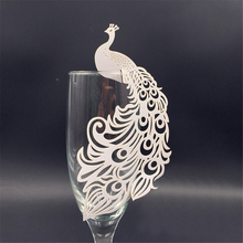 50pcs  Peacock laser Cut Paper Place Card Escort Cup Card glass wine charms wedding favors and gifts baby shower party supplies