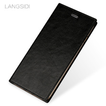 LANGSIDI brand mobile phone shell square wax leather flip phone holster For Huawei Honor7X phone case handmade custom processing(China)